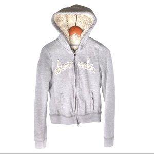 Abercrombie Sherpa Lined Full Zip Grey Hoodie